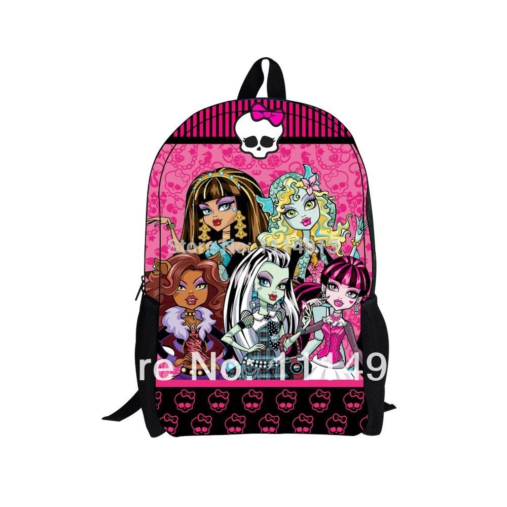 for monster 2014 new monster high bag school children backpacks with new design and zipper children girl cartoon monster(China (Mainland))