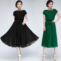 2014 summer dress korean batwing sleeve Chiffon Elastic waist dresses loose short sleeve plus size women dress