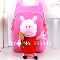 2014 hot sale peppa pig plush cartoon george backpack kids school bag students bag for boys and girls