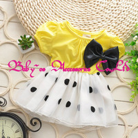 Retail Free shipping Children Girl bowknot Dress Infant Dress With Bow Girl Formal Party Dress kids Clothing 1~5 years BOS.1422