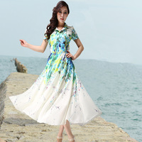 2014 summer chiffon one-piece dress elegant slim turn-down collar midguts bohemia