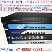 1U network server with virtualization 6*1000M lan Celeron C1037U CPU support ROS Mikrotik PFSense Panabit Wayos 2G RAM 8G SSD