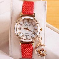 8 Colors Retro Leather Strap Watches Moon Pendant Watch Women Dress Watches Quartz Ladies Relojs