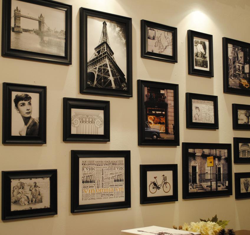 Black photo frame solid wood wall photos photo wall combination photo frame 16 box(China (Mainland))