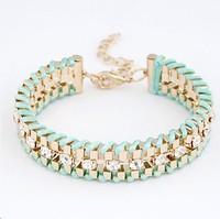 New 2014 Fancy Brand Bracelets Women Jewelry Gift 18K Real Gold Plated hand-woven Rhinestone Chain Bracelets & Bangles!724
