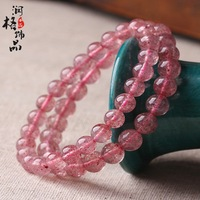 Top 5a strawberry bracelet female pink crystal natural refreshing bracelets dr. peach