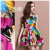 2014 spring and summer new arrival women's fashion print slim one-piece dress vest lantern skirt