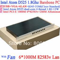6 ports 1000M advanced network router 1U server Barebone with 6*intel 82583V Gigabit LAN Atom D525 support ROS Mikrotik PFSense