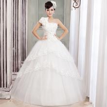 Vestido de novia sexy princesa dulce vestido de diamantes de imitación de flores de la novia una correa para el hombro de encaje encantador dulce de alta calidad para casarse(China (Mainland))