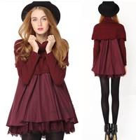 2014 spring fashion sheep fur shawl cloak loose one-piece dress lace cute shirt puff skirt