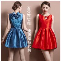 2014 new arrival fashion high quality lace deep V-neck racerback bow slim princess one-piece dress