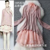 2014 spring new arrival women's organza patchwork skirt long-sleeve cute slim one-piece dress