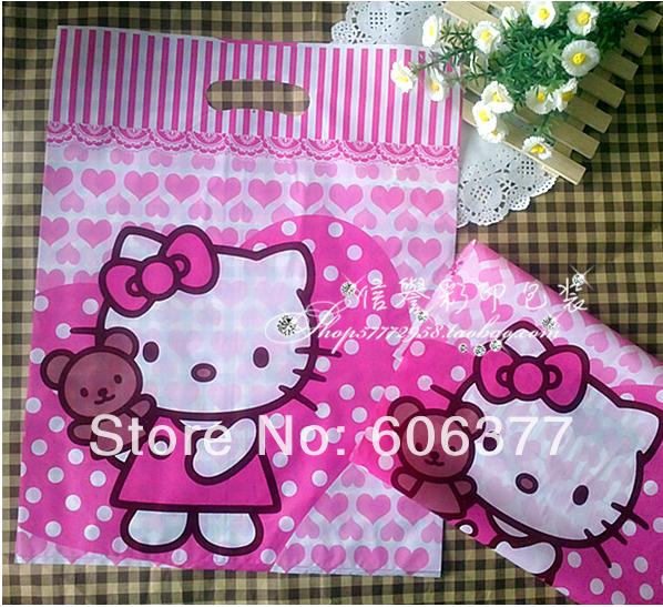 50pcs 35X45cm Cute Cartoon Hello Kitty Boutique Bags Packaging Bag Shopping Bag Clothes Bag(China (Mainland))