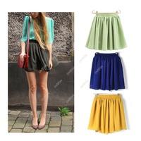 Retro Women Candy Color Chiffon Elastic High Waist Short Pleated Mini Skirt