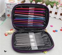 22pcs Aluminum Crochet Hooks Needles Knit Weave Stitches Knitting Craft Case New