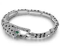 "Austria Crystal Bangle Bracelet ""Brave & Beauty"" Wild Leopard Design  Fashion Rock Style Women Men Jewelry BAG05093BW"