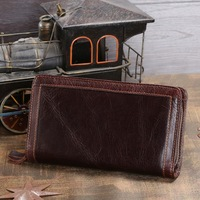8023C 2014 New Brand Hot Sale Fashion Genuine Leather Coffee Unisex Wallets Clutch Purses Key Case