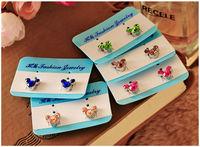 (Mini Order $10 Mix) Colorful Mickey Magnetic Crystal Fashion Clip Earrings(JM-E045)