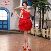 Sweet cute little short skirt the bride wedding dress short design red formal dress 2014 spring