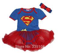 Retail princess dress Superman Short Sleeve Infant Dress Supergirl summer 2pcs set:Triangle Romper + Headband Halloween colthing
