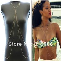 Free Shipping 5pcs Sexy Gold Plated Bikini Beach Belly Waist Chain Waistband Body Chains