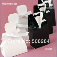 Wholesale - 500pieces/lot Tuxedo Bride and Groom Wedding Favors Paper Candy Box , Free Shipping