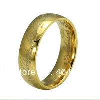 The Lord of the Rings 18K gold plated Ring,Stainless Steel Men Women Rings Jewelry Free shipping,Bead Chain AS Gift