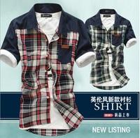 Men Casual New Summer Wear Fashion Pockets Plaid Print Patchwork Turn down Collar T-Shirt men 2 Color Shirts