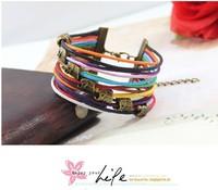Cute Little Elephant Bronze Alloy Rope Braided Colorful Wax Bracelet