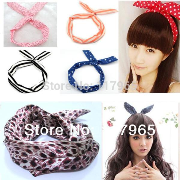 Min.order is $10 (mix order) Lovely Dot Rabbit Bunny Ear Ribbon Metal Wire Headband Scarf Hair Head Band Bow JE041(China (Mainland))