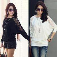 S-XXXL, 2014 Women Fashion Spring Autumn Long Sleeve Batwing Lace Hollow Loose T shirt Top, A1234