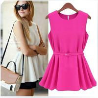 Blouse New 2014 Summer Fashion Blusas Europe America Loose Pleated Women Blouses Plus Size Chiffon Blouse & Ladies Blouses B0187