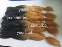 Stocks! 20inch two tone black&brown synthetoc ombre kanekalon braiding hair, Free shipping