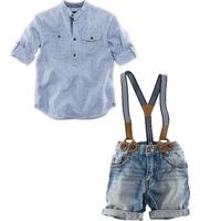 6pcs/lot new 2014 kids boy clothing set, summer baby & kids clothes set( striped shirt+kids pants) cool jeans children overalls