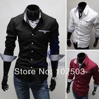 2014 New Designer Fashion Luxury Slim Fit Casual Men's Dress Shirts Four Size M~XXL drop shipping 3653