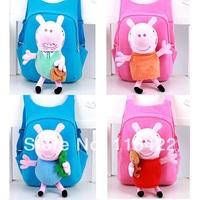 factory wholesale peppa pig cartoon school bag plush kids backpack george free shipping
