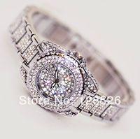 Women Rhinestone Watches 2014 Ladies Dress Watches Full Diamond Crystal Women's Luxury Watches Female Silver Quartz Watches009