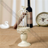 Retro Metal Home decoration bird cage candle holder White Zakka Wedding Decorative Candle Holders