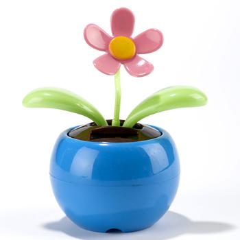 Magic Cute Flip Flap Swing Dancing Solar Powered Flower Toys , Blue(China (Mainland))