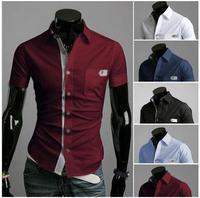 Free Shipping New 2014 Spring Mens Fashion Dress Shirts Plaid Hit Color Slim Short-sleeved Shirts 4 Colors A8682