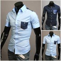 Free Shipping New 2014 Spring Mens Fashion Dress Shirts Plaid Hit Color Slim Short-sleeved Shirts 4 Colors A8683