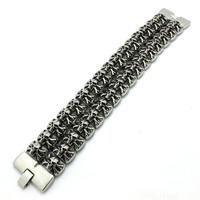Hot!! Fast Shipping 182g Huge Heavy Skull Bracelet 316 Stainless Steel Hot Sale Cool Men Skull Bracelet