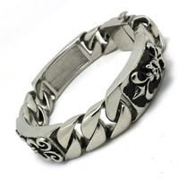 Hot!! Fast Shipping Fleur De Lis  Skull Bracelet 316 Stainless Steel Hot Sale Cool Men Boy Skull Bracelet