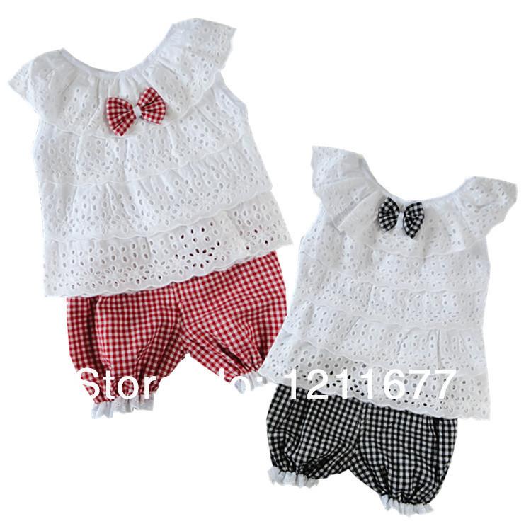 Новое лето дети одежда комплект кружева дети девушка одежда комплект майка и решетчатые шорты брюки 2 цвета детская одежда