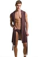 2014 new men's fashion hooded pajamas, bathrobes, dressing gowns sexy summer ice silk men sleep tops N2N Free Shipping