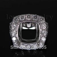 Cushion 12mm in Solid 14Kt White Gold Diamond Jewelry Semi mount Ring WU174B