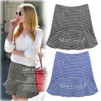 New 2014 Women Shorts Women Plover Plaid Shorts Women Hot Pants Women High Waist Shorts Plus Size S-XXL 2 Color WHP008