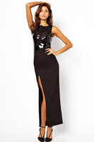 Free shipping + Lowest price New Sexy Sleeveless High Slit Leather Spliced Maxi Evening Dress LC6367