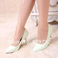 Free shipping 2014 new Spring women pumps women single shoes candy color fashion japanned leather pointed toe small fresh