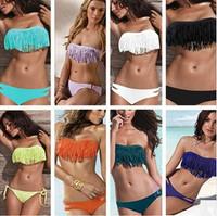 11COLORS Free Shipping Hot Sale Swimwear Women Padded Boho Fringe Bandeau Bikini Set New Swimsuit Lady Bathing suit
